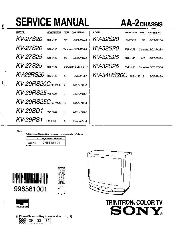 Sony Kv 27s25 Kv 27s20 Pdf Diagramas De Televisores Lcd Y