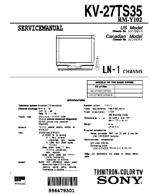 Sony Kv 27ts27 Kv 27ts27 Ts31 Ts35 Ln 1 Pdf Diagramas De