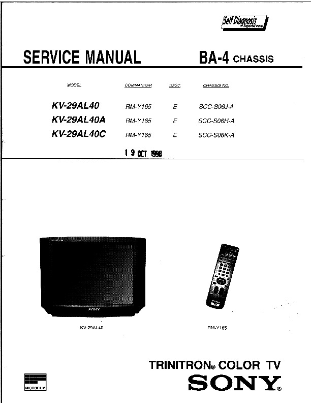 Sony Kv 29al40  Kv 29al40a  Kv 29al40c Ba 4 Kv 29al40c Pdf
