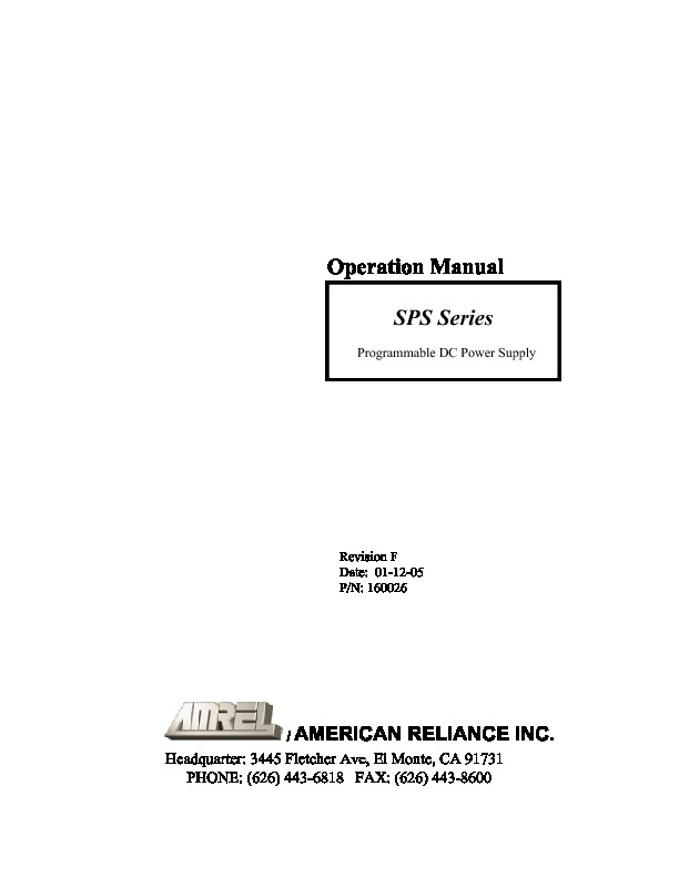 AMERICAN RELIANCE SPS Series Operation.pdf