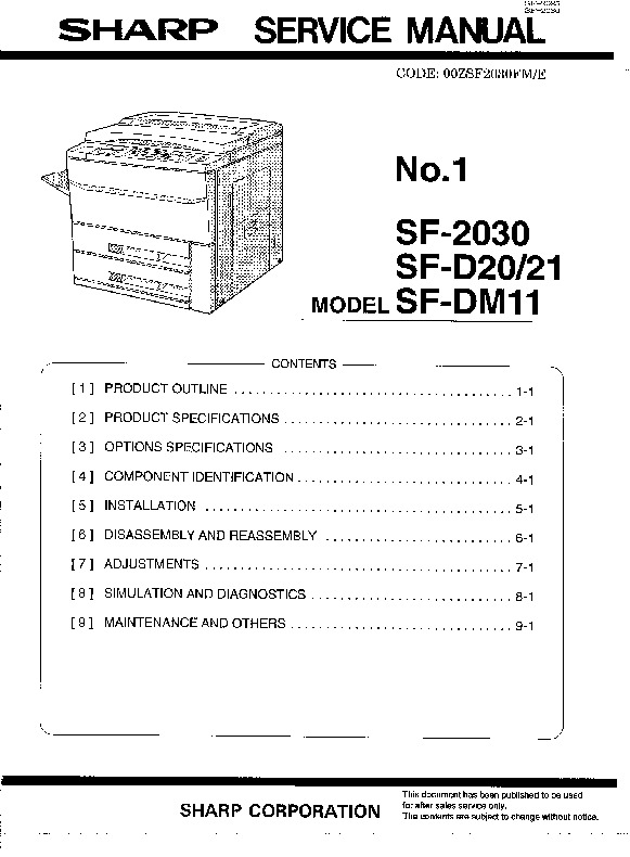 Sharp Sf2030 Sf D20  21 Sf Dm11 Sharp Copier Sf 2030 Sf D20