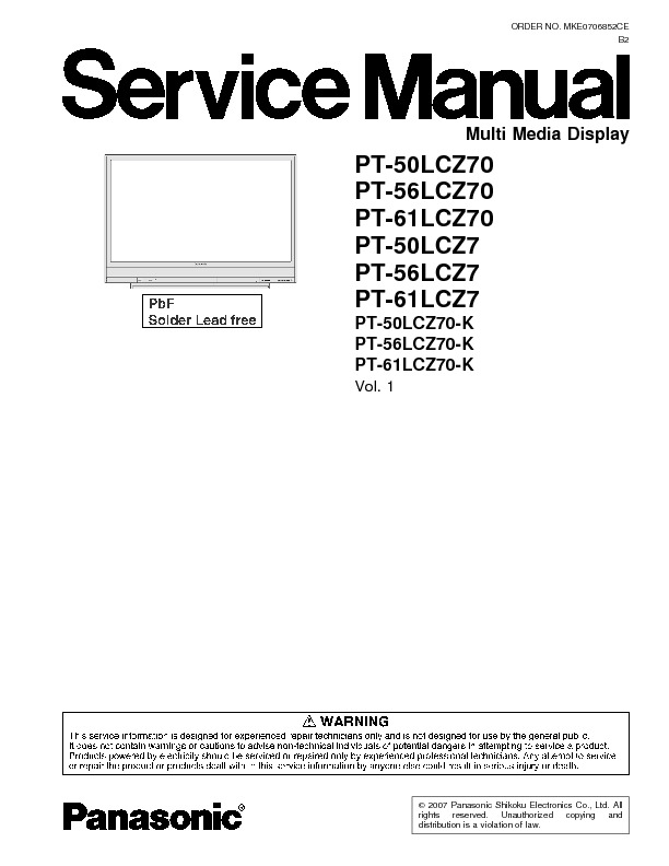 Panasonic Pt 50 56 61 Service Manual Pt 50 56 61 Lcx Lcz 7
