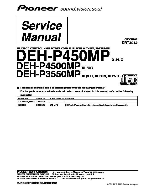 Pioneer Pioneer Deh P450 3550 4500mp Keyboard Pdf