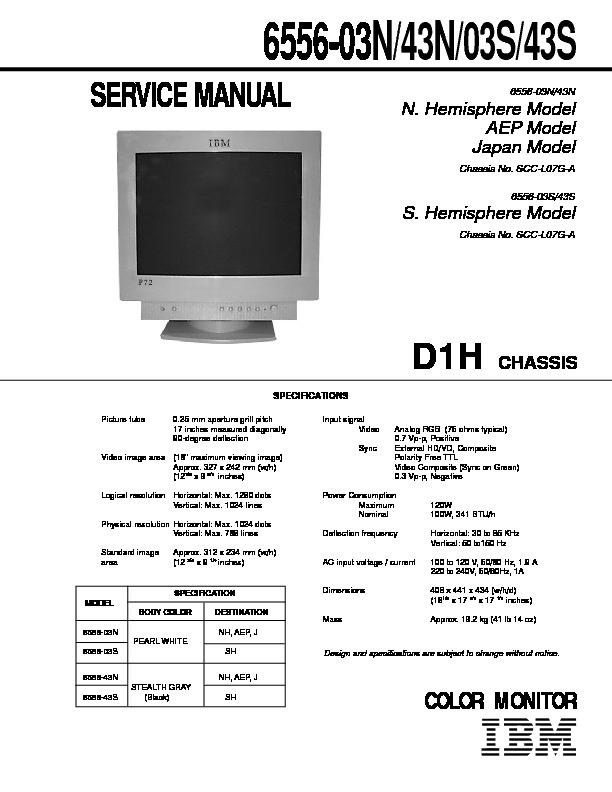 Ibm 6556 03n 43n 03s 43s D1h Service Manual Ibm Monitor 6556 03n 43n 03s 43s Chassis D1h Pdf