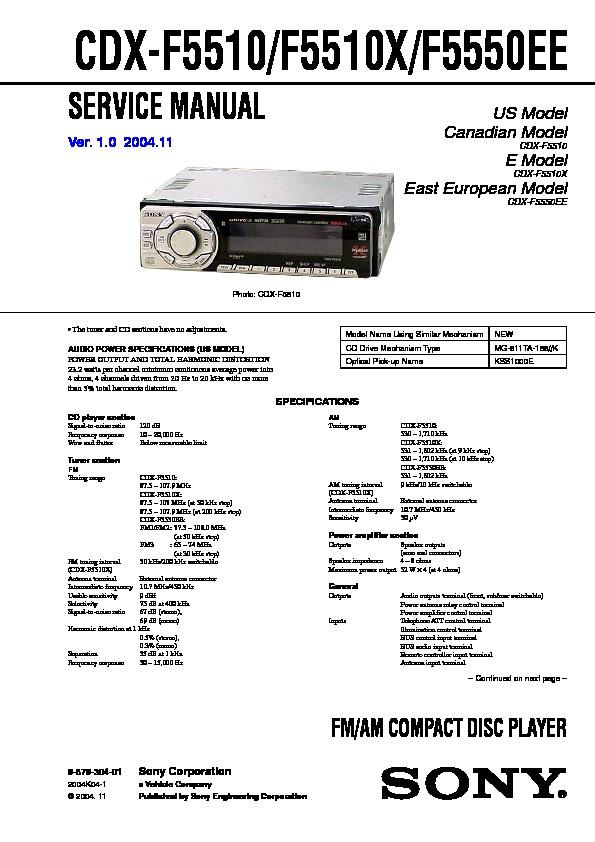 Sony Sony Cdx F5510 F5510x F5550ee Ver 1 0 Sm Pdf