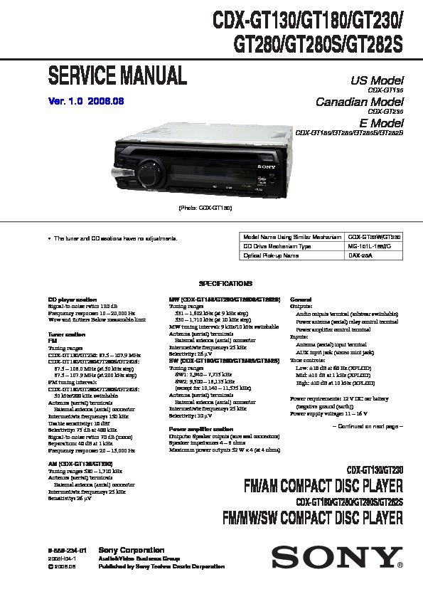 Sony Sony Cdx Gt130 Gt180 Gt230 Gt280 Gt280s Gt282s Sony