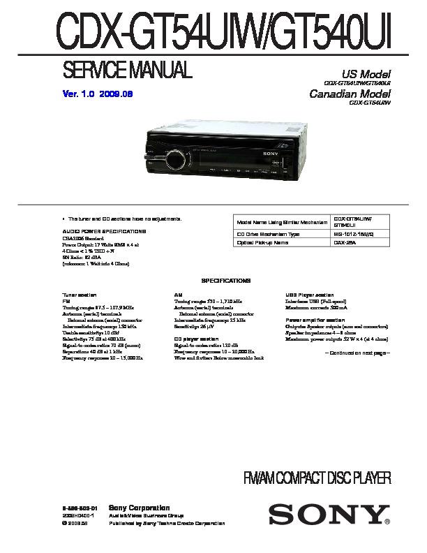 Sony Sony Cdx Gt54uiw Gt540ui Pdf Diagramas De Autoradio