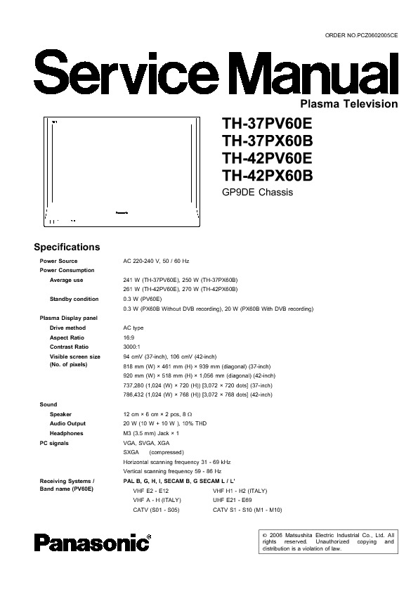 1- TV PANASONIC TH - 37 42 PV PX 60 B--E CHA GP - 9 DE PLASMA.pdf