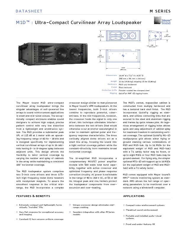 Meyer Sound M1D UltraCompact Curvilinear Array Loudspeaker.pdf