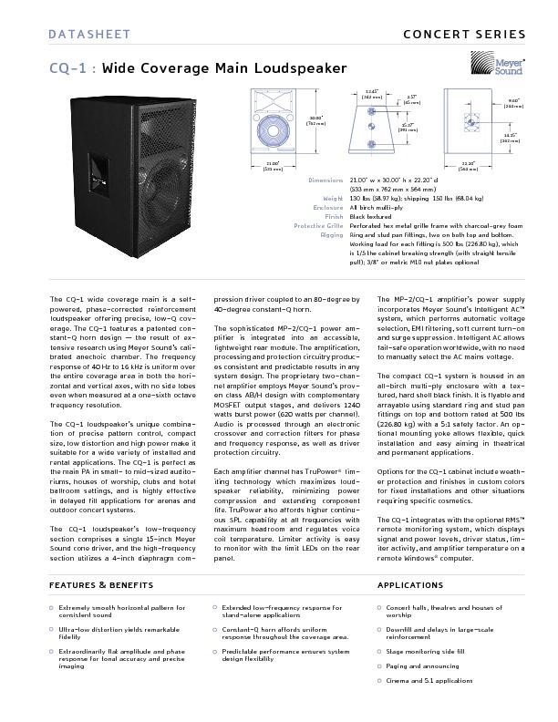 MEYER SOUND CQ-1 Wide Coverage Main Loudspeaker.pdf