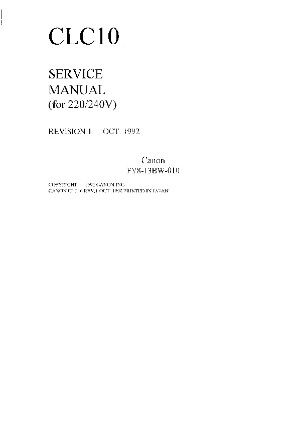 Canon CLC-10 Manual de Servicio - .pdf