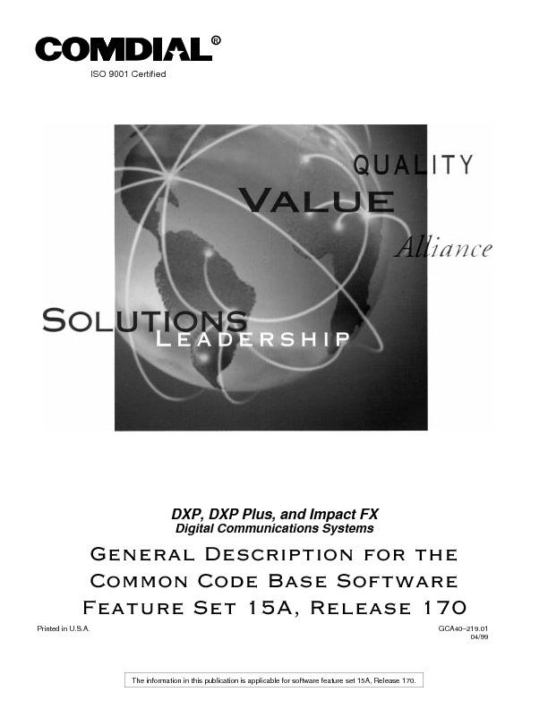 Comdial DXP-DXP Plus-Impact FX General Description Rel 15A.pdf