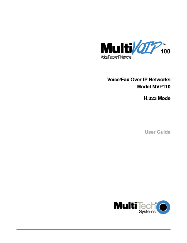 Multitech MVP 110 User Guide H323 Mode.pdf