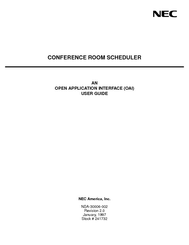 NEC NEAX2400 Conference Room Scheduler User Guide.pdf