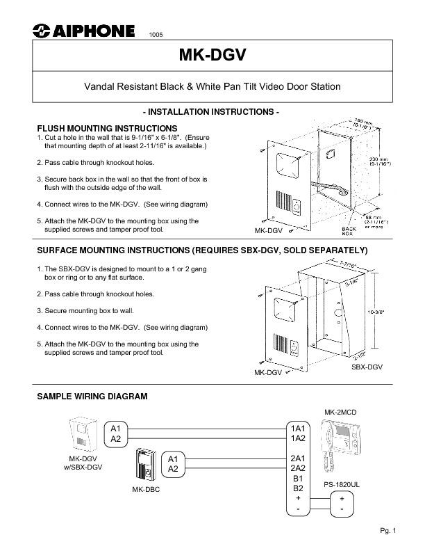 Aiphone MK-DGV Vandal Resistant PanTilt Video Door Station Instructions.pdf